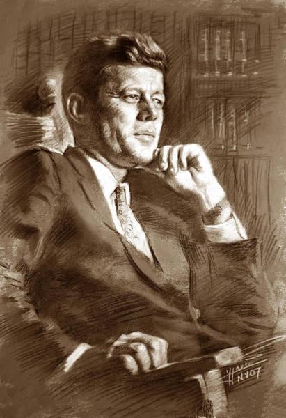 Landmark Drawing - John Fitzgerald Kennedy by Ylli Haruni