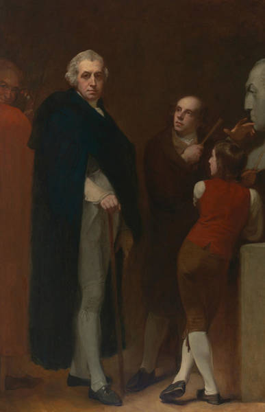 Wall Art - Painting - John Flaxman Modeling The Bust Of William Hayley by George Romney