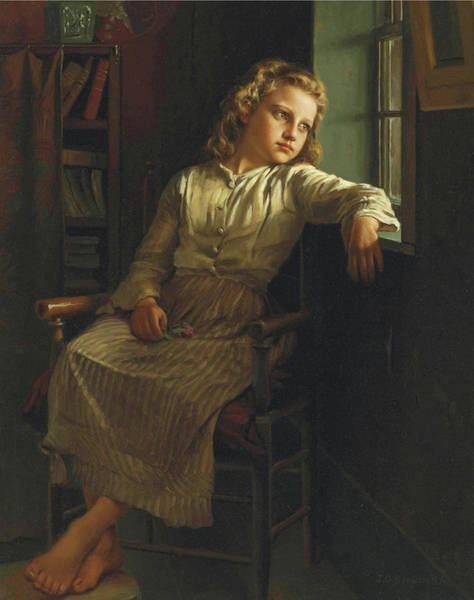 Painting - John George Brown Girl At The Window 1890 by Movie Poster Prints