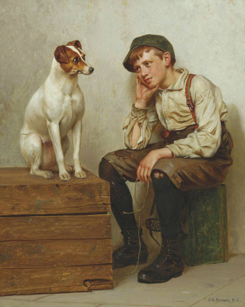 Painting - John George Brown Mutual Admiration 1898 by Movie Poster Prints