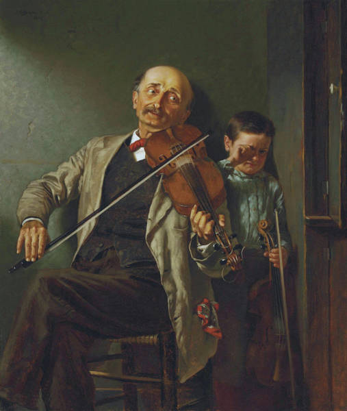 Painting - John George Brown The Duet 1882  by Movie Poster Prints