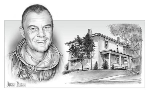 Professional Drawing - John Glenn Birth Place 2 by Greg Joens