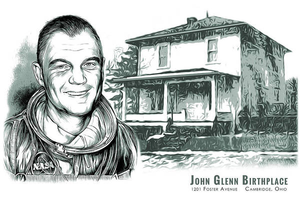 John Glenn Birthplace Bw Art Print