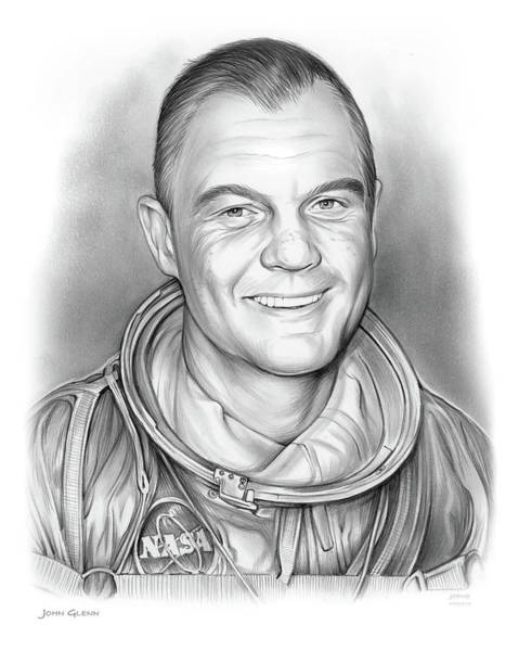 United States Drawing - John Glenn - Bw by Greg Joens