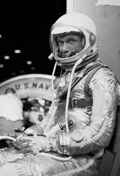 Astronaut Wall Art - Photograph - John Glenn Wearing A Space Suit by War Is Hell Store