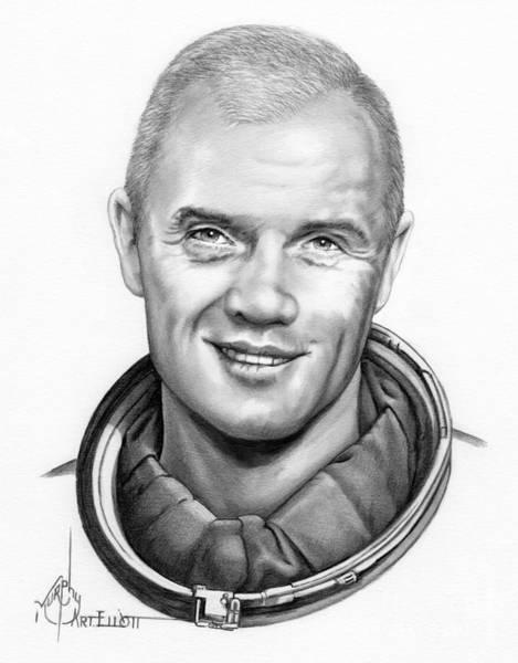 Astronaut Drawing - John H. Glenn by Murphy Elliott