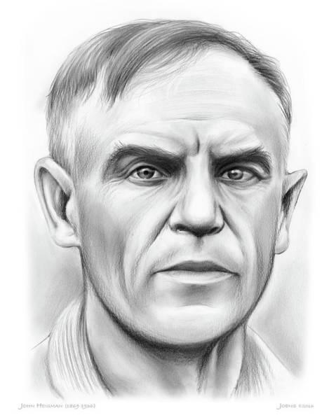 Coaches Wall Art - Drawing - John Heisman by Greg Joens