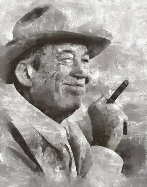 Director Painting - John Huston, Film Director by Mary Bassett