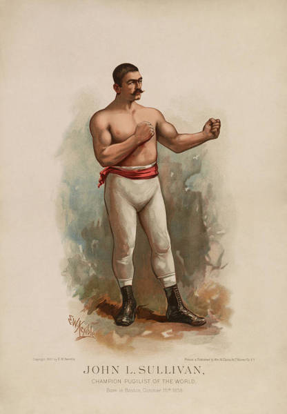 Boxing Painting - John L. Sullivan - Champion Pugilist - Color Print by War Is Hell Store