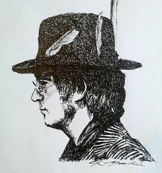 Drawing - John Lennon by CK Mackie