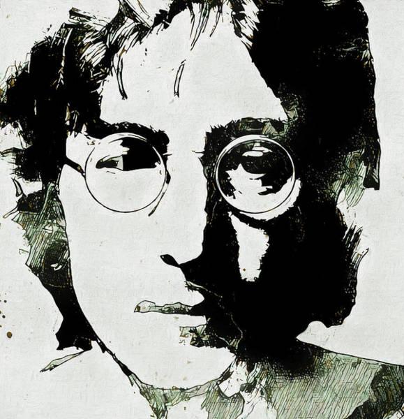 Classic Rock Mixed Media - John Lennon Grunge Portrait by Dan Sproul