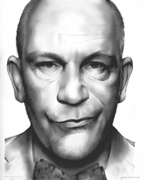 Shadows Drawing - John Malkovich by Greg Joens