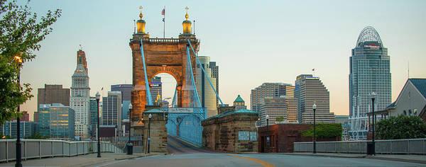 Photograph - John Roebling Bridge And Cincinnati Skyline Panoramic  by Gregory Ballos
