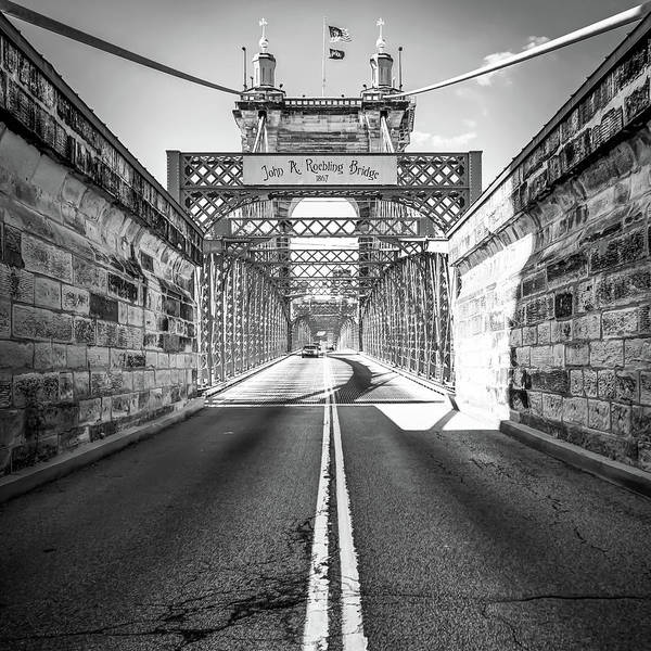 Photograph - John Roebling Bridge - Cincinnati Black And White Art by Gregory Ballos