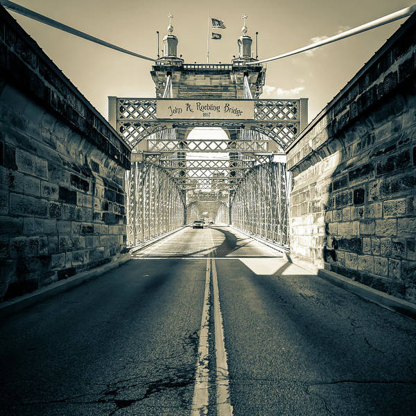 Photograph - John Roebling Bridge - Cincinnati Sepia Art by Gregory Ballos