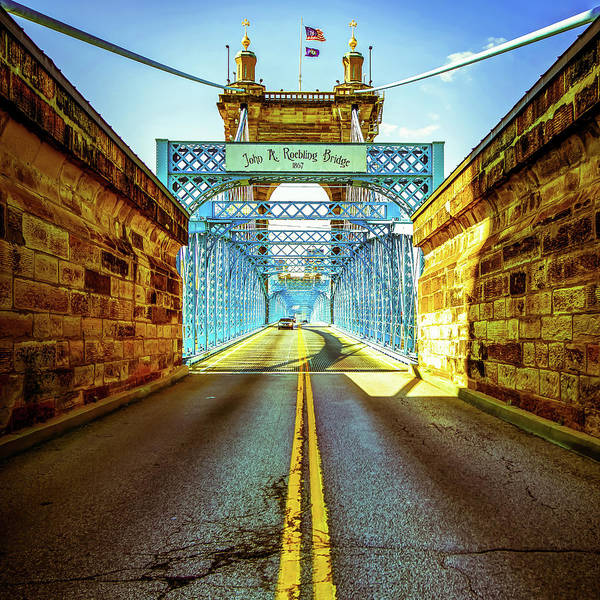 Photograph - John Roebling Bridge - Cincinnati Vintage Art by Gregory Ballos