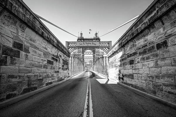 Photograph - John Roebling Bridge Entrance - Cincinnati Ohio Black And White by Gregory Ballos