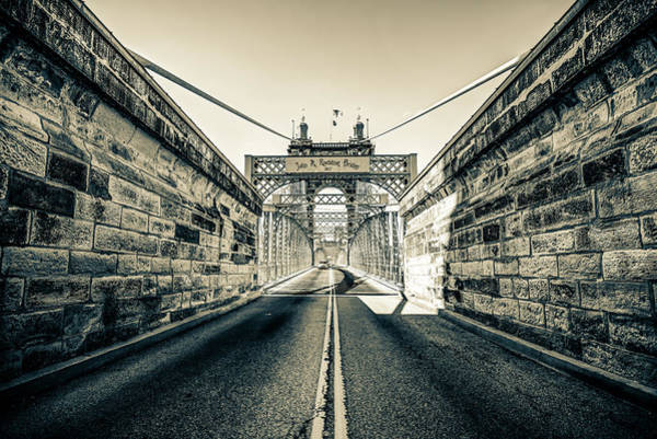 Photograph - John Roebling Bridge Entrance - Cincinnati Ohio Sepia Print by Gregory Ballos
