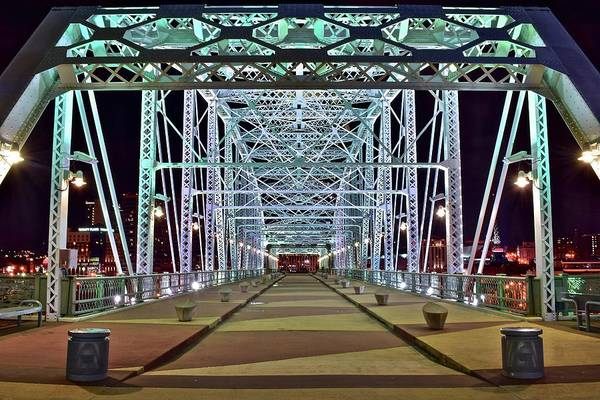 Nashville Photograph - John Seigenthaler Pedestrian Bridge by Frozen in Time Fine Art Photography
