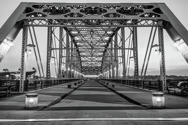 Photograph - John Seigenthaler Pedestrian Bridge - Nashville Tennessee - Black And White  Edition by Gregory Ballos