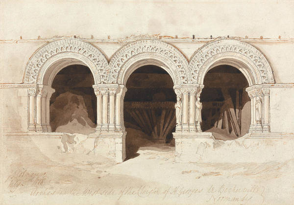 Drawing - Arches In The West Side Of The Cloister Of Saint Georges De Bocherville by John Sell Cotman