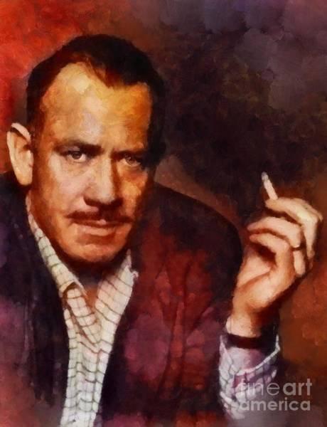 Wall Art - Painting - John Steinbeck, Literary Legend by Sarah Kirk