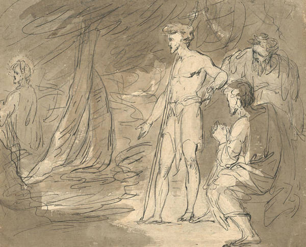 Wall Art - Drawing - John The Baptist And Two Men, With Christ by William Hamilton