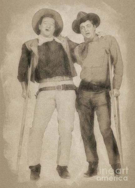 Pinewood Drawing - John Wayne And Robert Mitchum By John Springfield by John Springfield