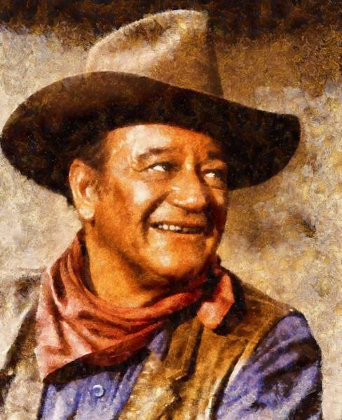 Screen Painting - John Wayne Hollywood Actor by John Springfield