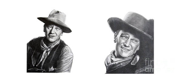 Drawing - John Wayne by Marianne NANA Betts