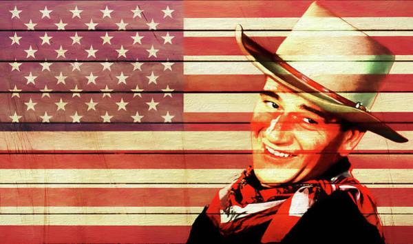Wall Art - Mixed Media - John Wayne Rustic American Flag by Dan Sproul