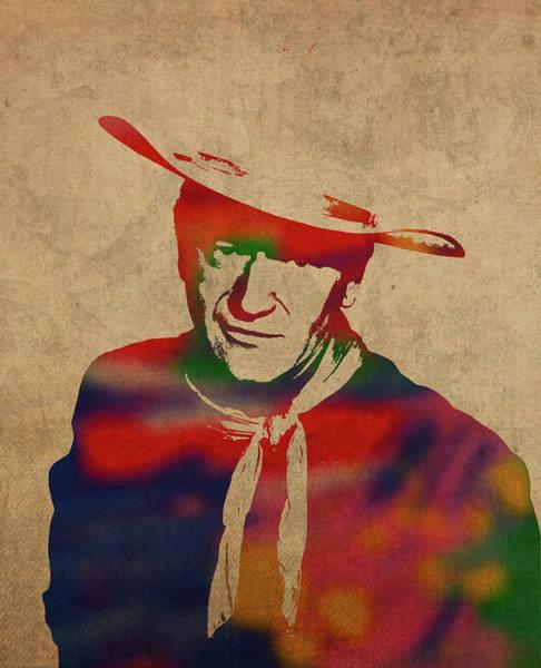 Wall Art - Mixed Media - John Wayne Watercolor Portrait by Design Turnpike