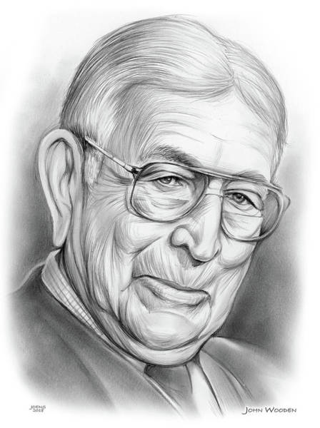 Wall Art - Drawing - John Wooden by Greg Joens