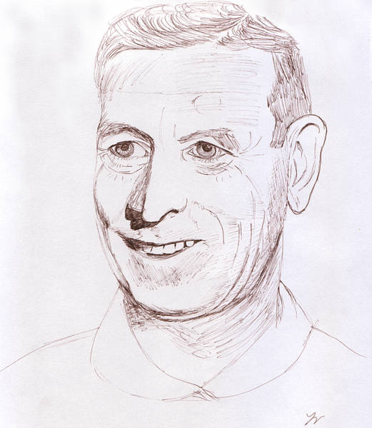 Drawing - John Wooden by M Valeriano