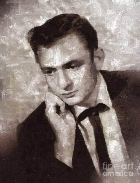 Johnny Cash Painting - Johnny Cash By Mary Bassett by Mary Bassett