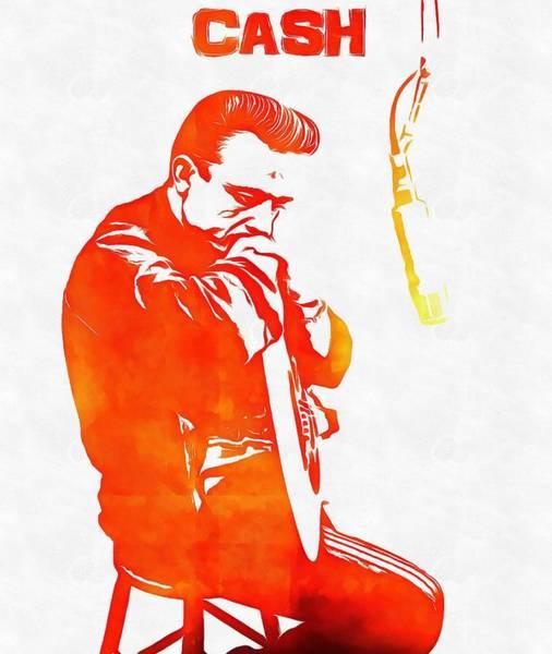 Johnny Cash Digital Art - Johnny Cash by Dan Sproul