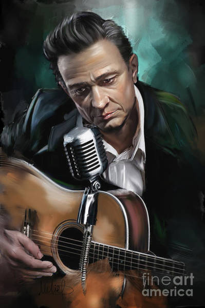 Wall Art - Painting - Johnny Cash by Melanie D