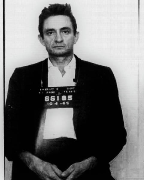 Photograph - Johnny Cash Mug Shot Vertical Wide 16 By 20 by Tony Rubino