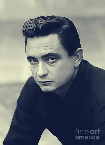 Johnny Cash Digital Art - Johnny Cash, Music Legend by John Springfield