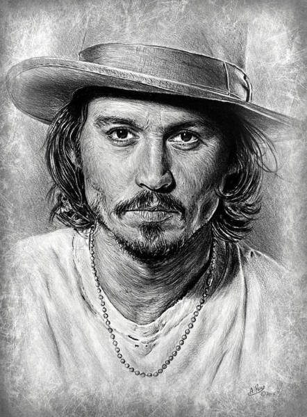 Handsome Drawing - Johnny Depp Grey Scratch by Andrew Read
