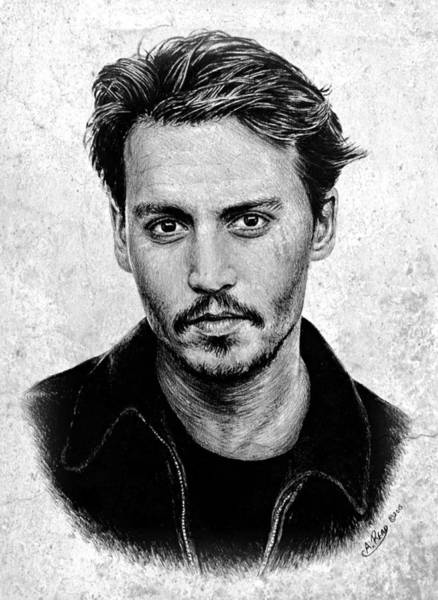 Handsome Drawing - Johnny Depp Grey Specked Ver by Andrew Read