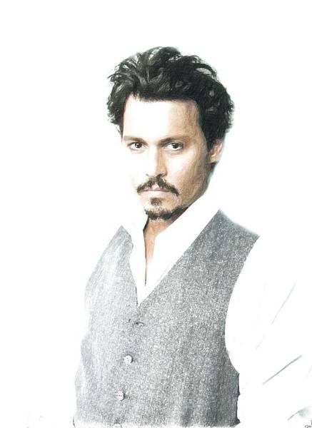 Joe Perry Digital Art - Johnny Depp Poster by Lilia Kosvintseva