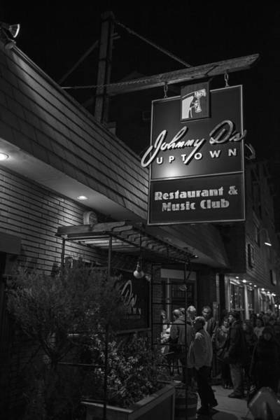 Photograph - Johnny Ds Music Club In Davis Square Somerville Ma Line Black And White by Toby McGuire