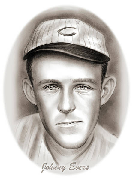 Professional Drawing - Johnny Evers by Greg Joens