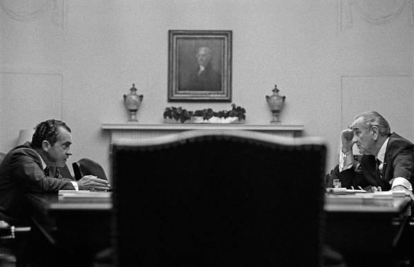 Democratic Party Photograph - Johnson And Nixon At The White House by War Is Hell Store