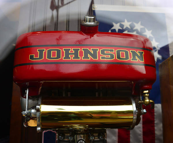 Outboard Engine Photograph - Johnson Outboard With Nautical Flag by David Lee Thompson