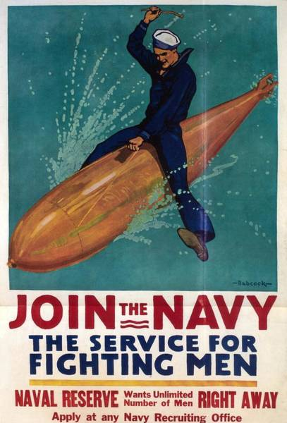 Join Wall Art - Painting - Join The Navy - Vintage Poster Of A Naval Officer Riding A Torpedo by Studio Grafiikka