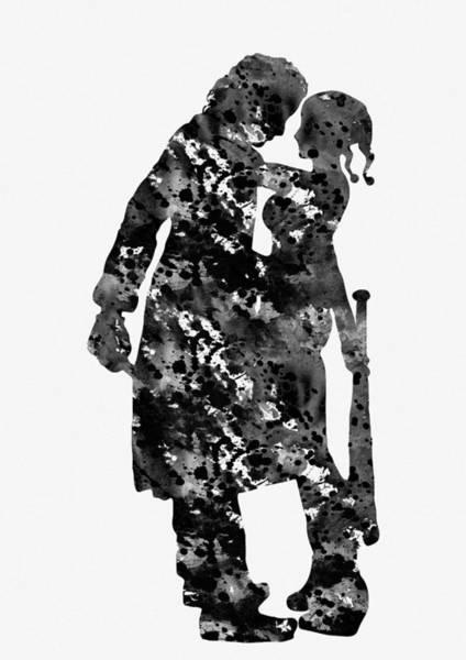 Harley Quinn Wall Art - Digital Art - Joker And  Harley Quinn-black 2 by Erzebet S
