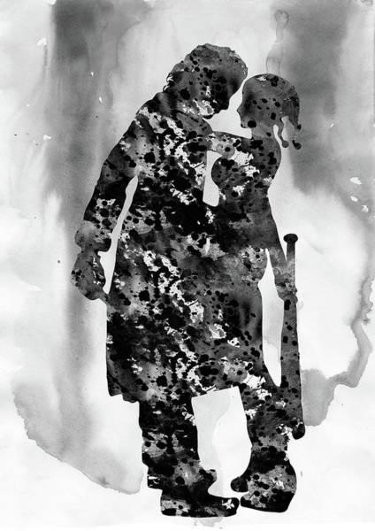 Harley Quinn Wall Art - Digital Art - Joker And  Harley Quinn-black by Erzebet S