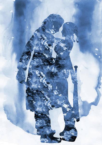 Harley Quinn Wall Art - Digital Art - Joker And  Harley Quinn-blue by Erzebet S